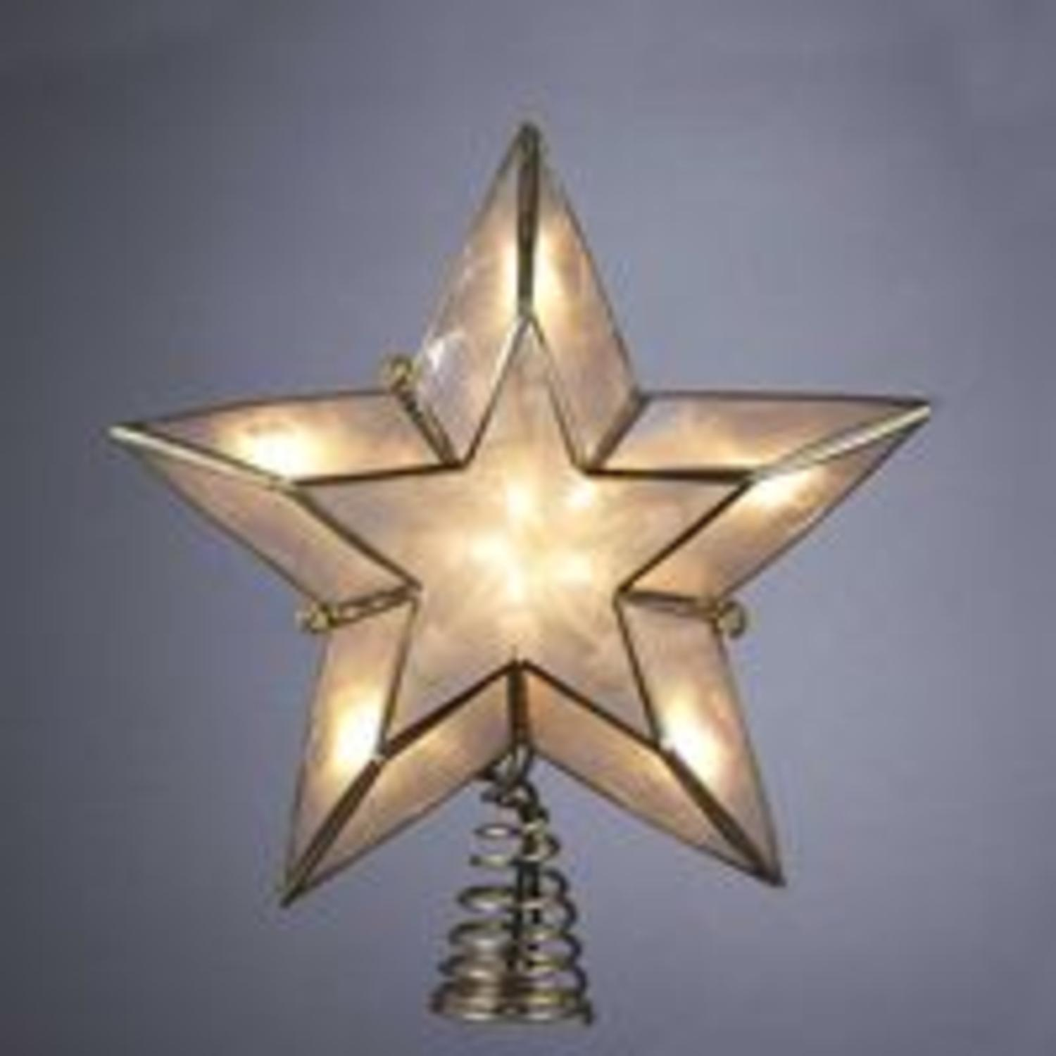 "6"" Lighted Gold and Ivory Capiz Five-Point Star Christmas Tree Topper"
