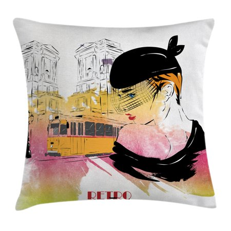 Fashion House Decor Throw Pillow Cushion Cover, Lady Posing in front of Tramway Sketch Retro Romance Aesthetics, Decorative Square Accent Pillow Case, 18 X 18 Inches, Yellow Purple, by Ambesonne ()