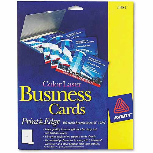 "Avery Print-to-Edge 2-Sided Business Cards, Color Laser, 2"" x 3-1/2"", White, 160-Pack"