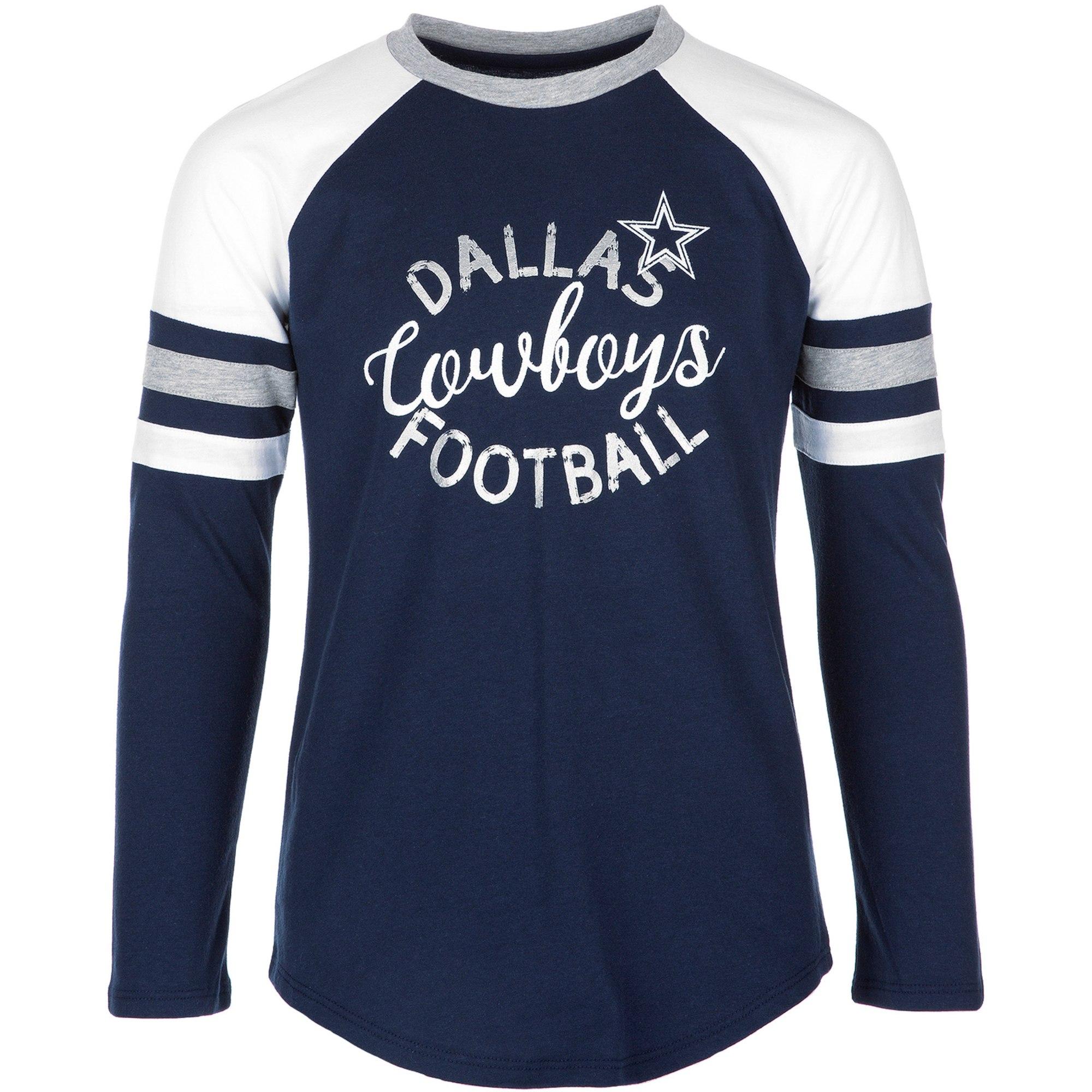 Dallas Cowboys Girls Youth Navy Prim Long Sleeve T-Shirt