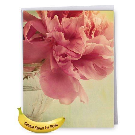 J6553BGWG Jumbo Get Well Card: 'Get Well: Full Blooms' Featuring a Nostalgic Image of Softly Hued Peonies Set in a Vase on a Table, Greeting Card with Envelope by The Best Card