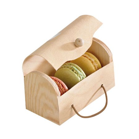 Rectangular Wood Box for 3 Macarons with Latch 4.33 x 3.07 x 2.16 in/Case of 100 (Macaron Box)