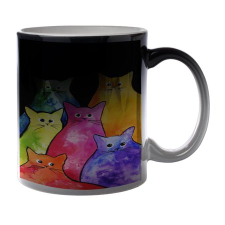 KuzmarK Black Heat Morph Color Changing Coffee Cup Mug 11 Ounce - Colorful Tie-Dyed Kitties Art by Denise Every (Kids Black Morph Suit)