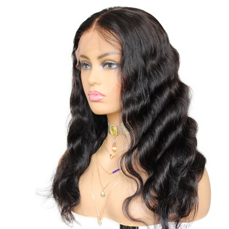 AISOM Lace Frontal Wig 13*6 Peruvian Virgin Body Wave Human Hair Wigs Black Color, 10