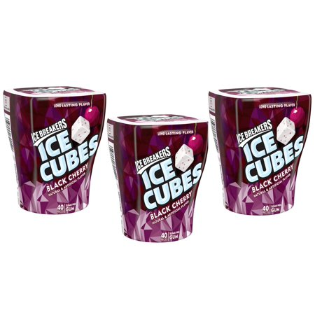 (3 Pack) Ice Breakers, Ice Cubes Sugar Free Black Cherry Gum, 40 Pieces, 3.24 Oz
