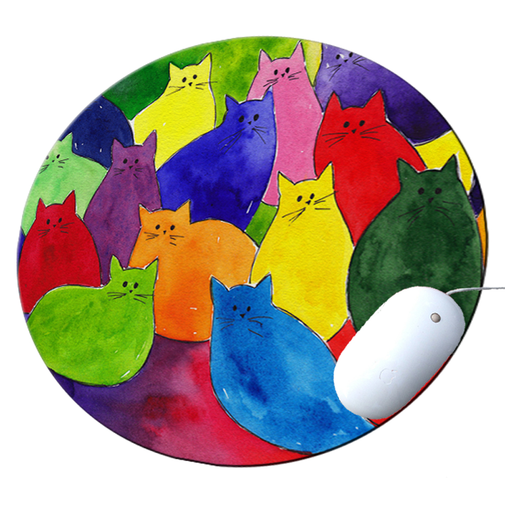 KuzmarK Round Mousepad / Hot Pad / Trivet - Colorful Kitties in Crayon Colors Art by Denise Every