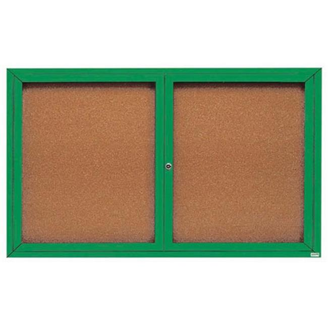Aarco Products DCC4872RG Enclosed Bulletin Board - Green