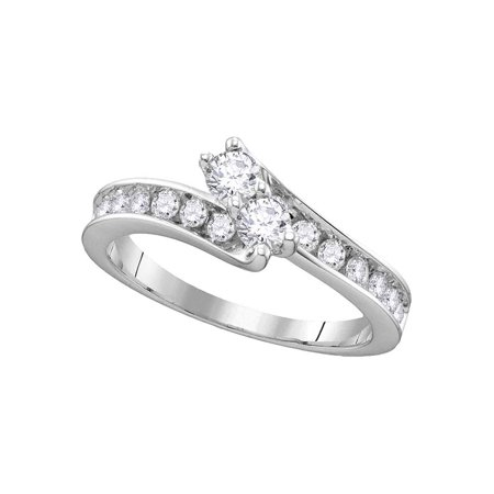 14kt White Gold Womens Round Diamond 2-stone Hearts Together Bridal Wedding Engagement Ring 1-1/2 Cttw - image 1 de 1