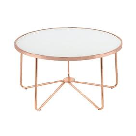 Acme Alivia White Glass End Table Rose Gold Base 22 W Walmart Com