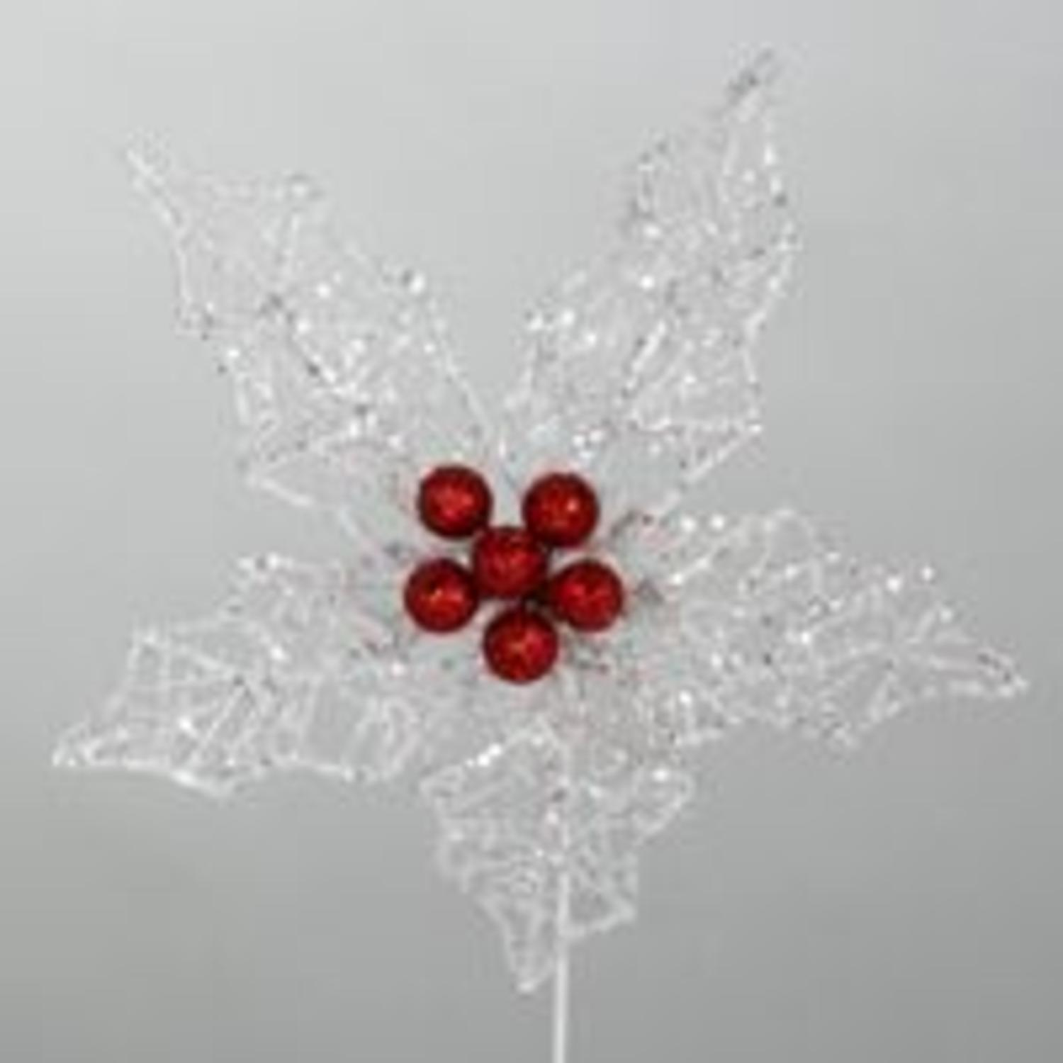 """8"""" Flower Power White Poinsettia Christmas Stem with Red Berries"""
