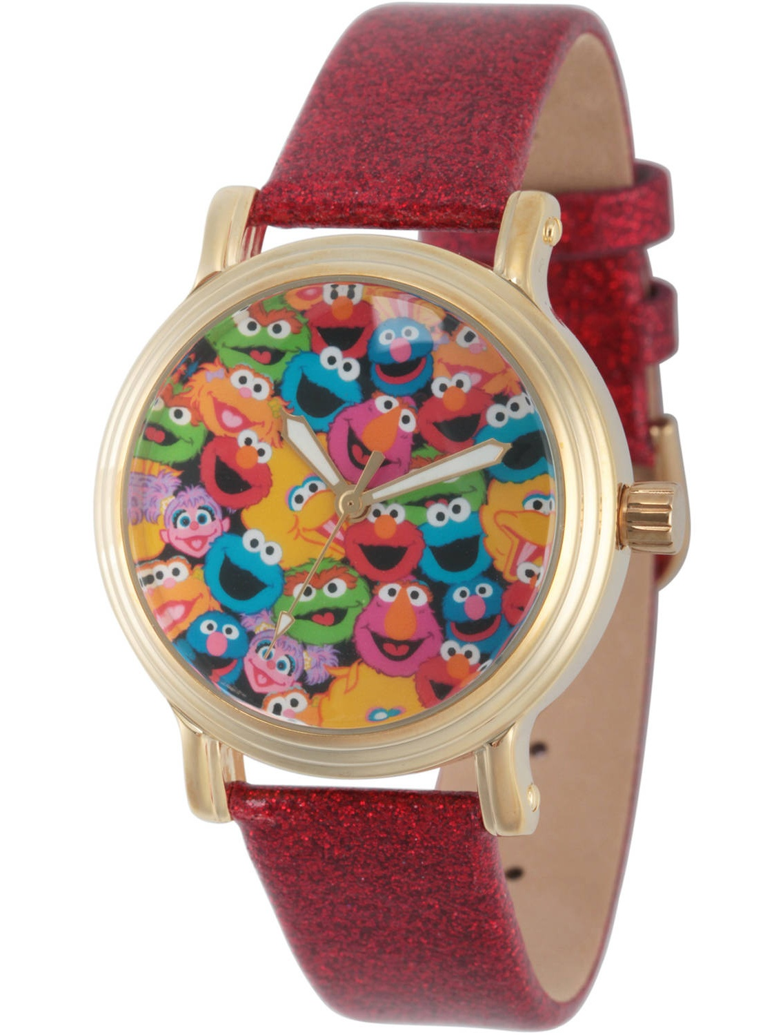Sesame Street, Group Pattern Women's Gold Vintage Alloy Watch, Red Glitter Strap