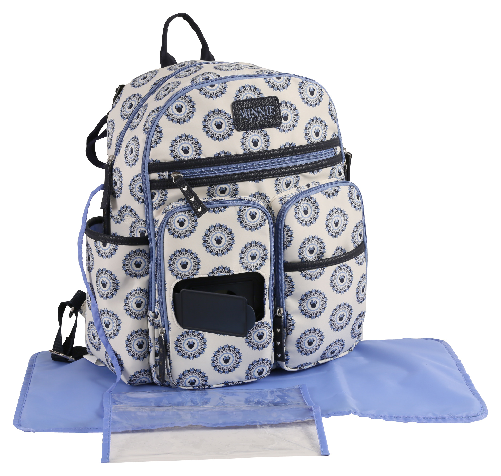 Disney Mickey Mouse Backpack Diaper Bag, White/Blue