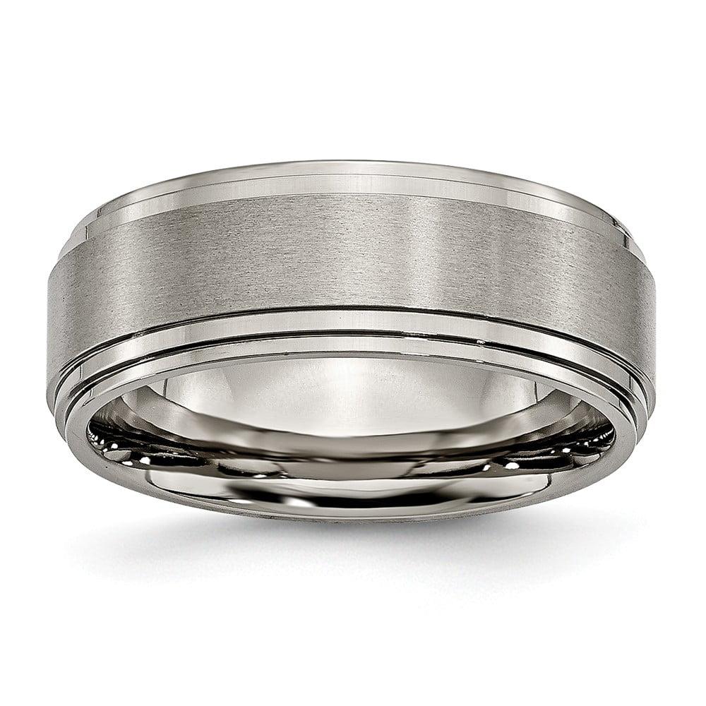 Men's Titanium Double Step Ridged Edge Satin and Polished Wedding Band Ring