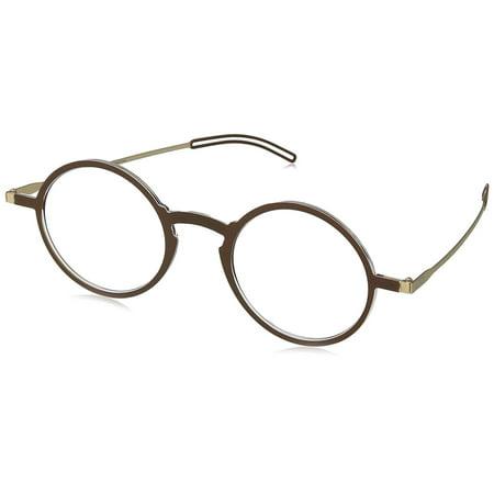 ThinOptics Manhattan Reading Glasses + Milano Anodized Aluminum, Magnetic case   Round Brown Frames, 2.00 Strength