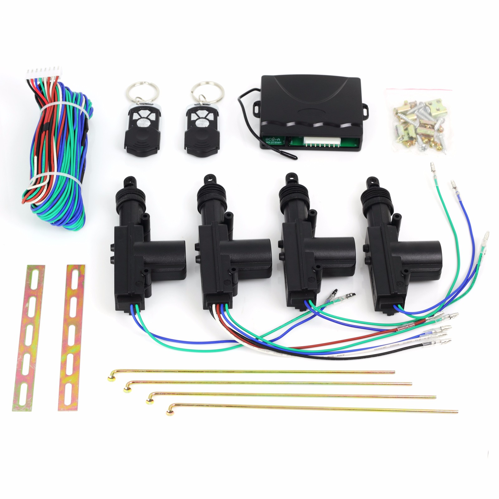 ESYNIC Universal 12V Remote Car Central 4 Door Locking Unlock System with 2 Remote Contral Keyless Entry Kit