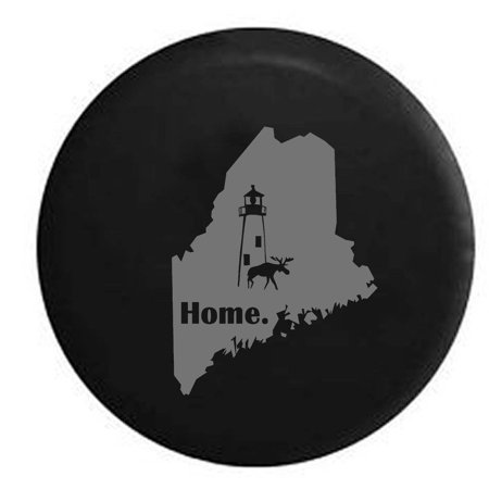 Maine Moose Lighthouse Home State Edition Spare Tire Cover Vinyl Stealth Black 27.5 in