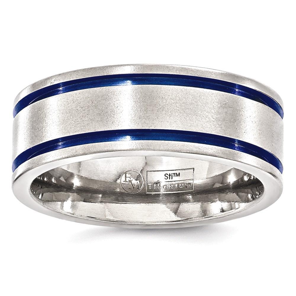 ICE CARATS Edward Mirell Titanium Brushed Double Groove Blue Anodized 8mm Wedding Ring Band Size 11.50 Man Classic Flat Fashion Jewelry Dad Mens Gift Set