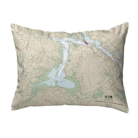 Betsy Drake NC13285GB 16 x 20 in. Portsmouth to Dover & Exeter - Great Bay, NH Nautical Map Noncorded Indoor & Outdoor Pillow Great Outdoors Bay