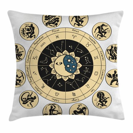 - Astrology Throw Pillow Cushion Cover, Ethnical Tribal Indian Horoscope Chart with Signs and Names Image, Decorative Square Accent Pillow Case, 16 X 16 Inches, Black White and Yellow, by Ambesonne