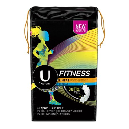 U by Kotex Fitness Panty Liners, Light Absorbency, Regular, 40 Ct