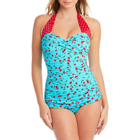 a29e4844fd2 Simply Slim - Women's Slimming Shirred Halter One-Piece Swimsuit -  Walmart.com