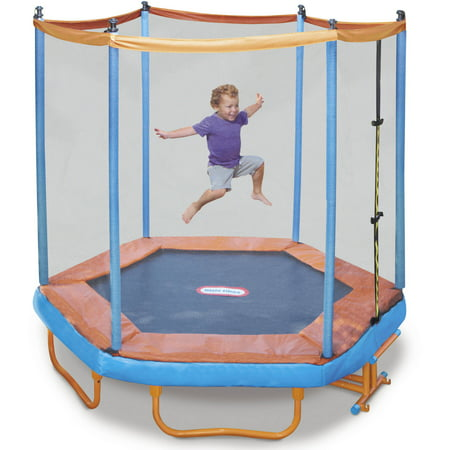 Little Tikes Easy Store 7 Foot Folding Trampoline, With Safety Enclosure And Padded Frame, Blue/Red by Little Tikes