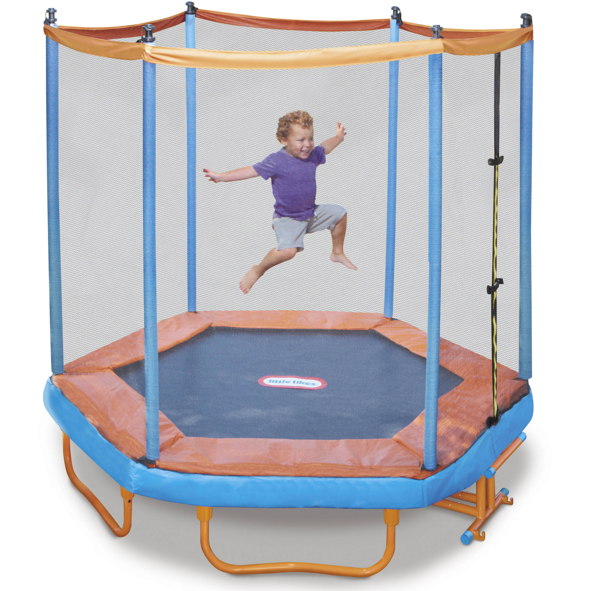 Little Tikes Easy Store 7-Foot Folding Trampoline, with Safety Enclosure and Padded Frame, Blue/Red