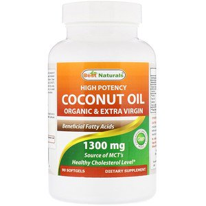 Best Naturals, High Potency Coconut Oil, Organic & Extra Virgin, 1300 mg, 90 Softgels (Pack of (Best Coconut Oil Nz)