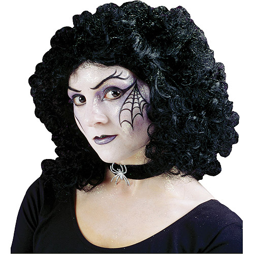 Curly Black Party Wig Adult Halloween Accessory