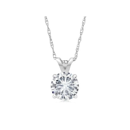 Charles & Colvard Forever Classic 0.80cttw DEW Created Moissanite Solitaire Pendant 14K White