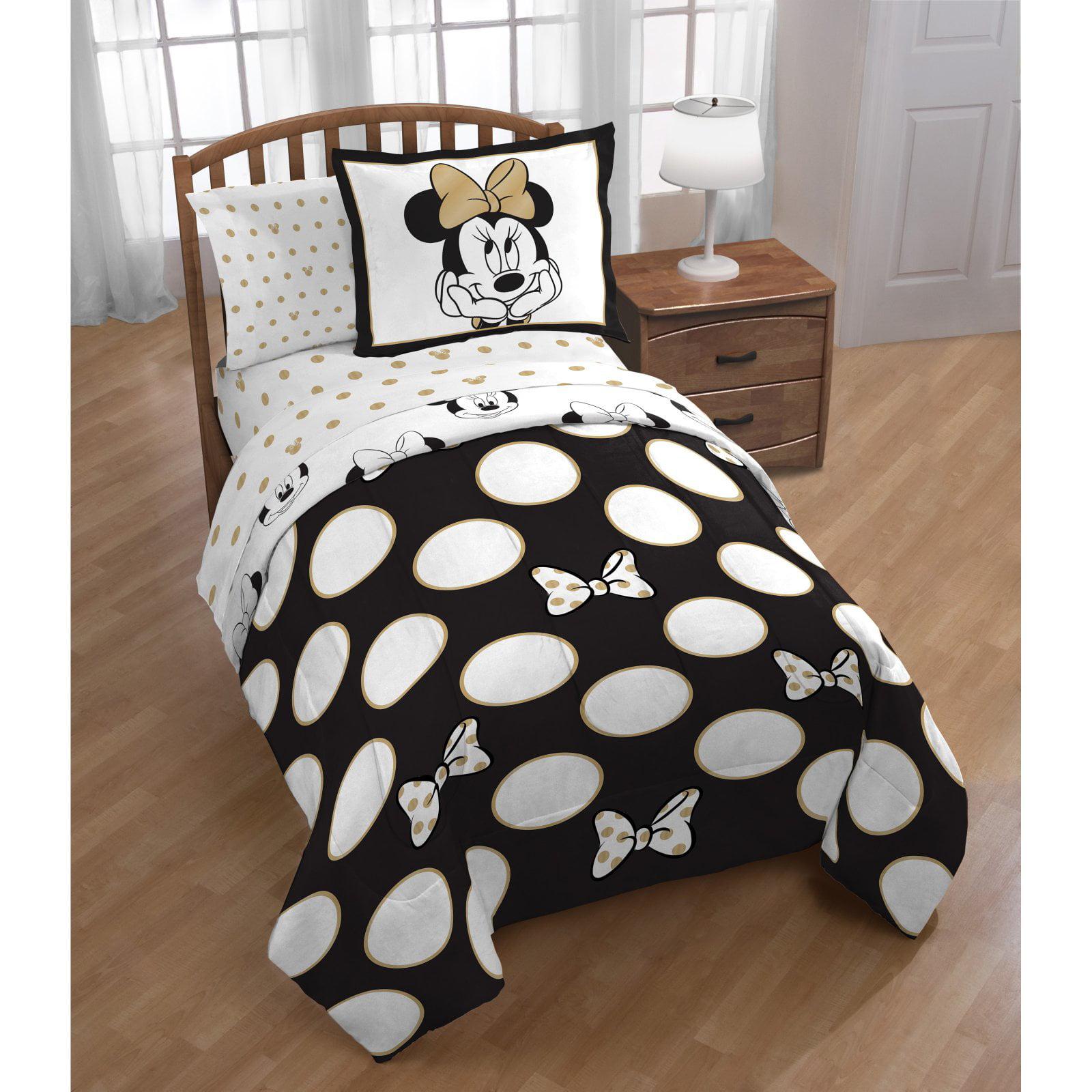 Disney Minnie Gold Dots Full Or Queen Comforter Set Walmart Com Walmart Com