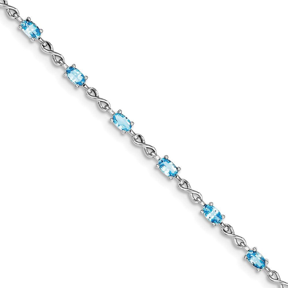 925 Sterling Silver Rhodium-plated Blue Topaz Bracelet by Diamond2Deal