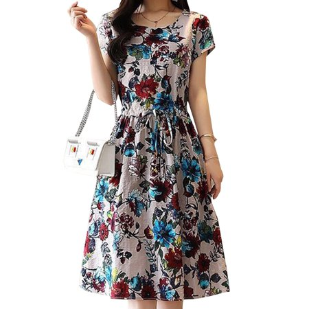 Funcee Women Fashion Short Sleeve Printed Slim