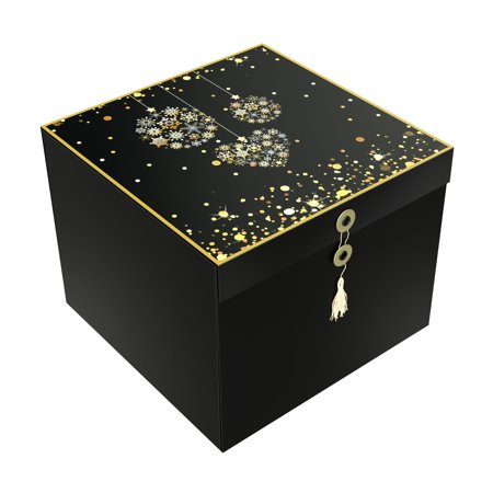 Christmas Present Box (EZ Gift Box Como Ornament Christmas Box for Presents Gorgeous Glossy Finish Pops Up in Seconds for Holiday Storage 10x10x8 Includes Tissue Paper and Greeting Card - EndlessArtUS)