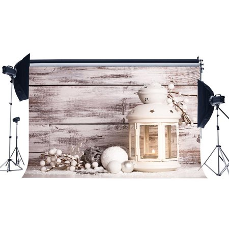 ABPHOTO 7x5ft Photography Backdrop Merry Christmas Balls Lantern White Branch Shabby Chic Rustic Stripes Wood Floor Xmas Backdrops Seamless Kids Girl Adults Happy New Year