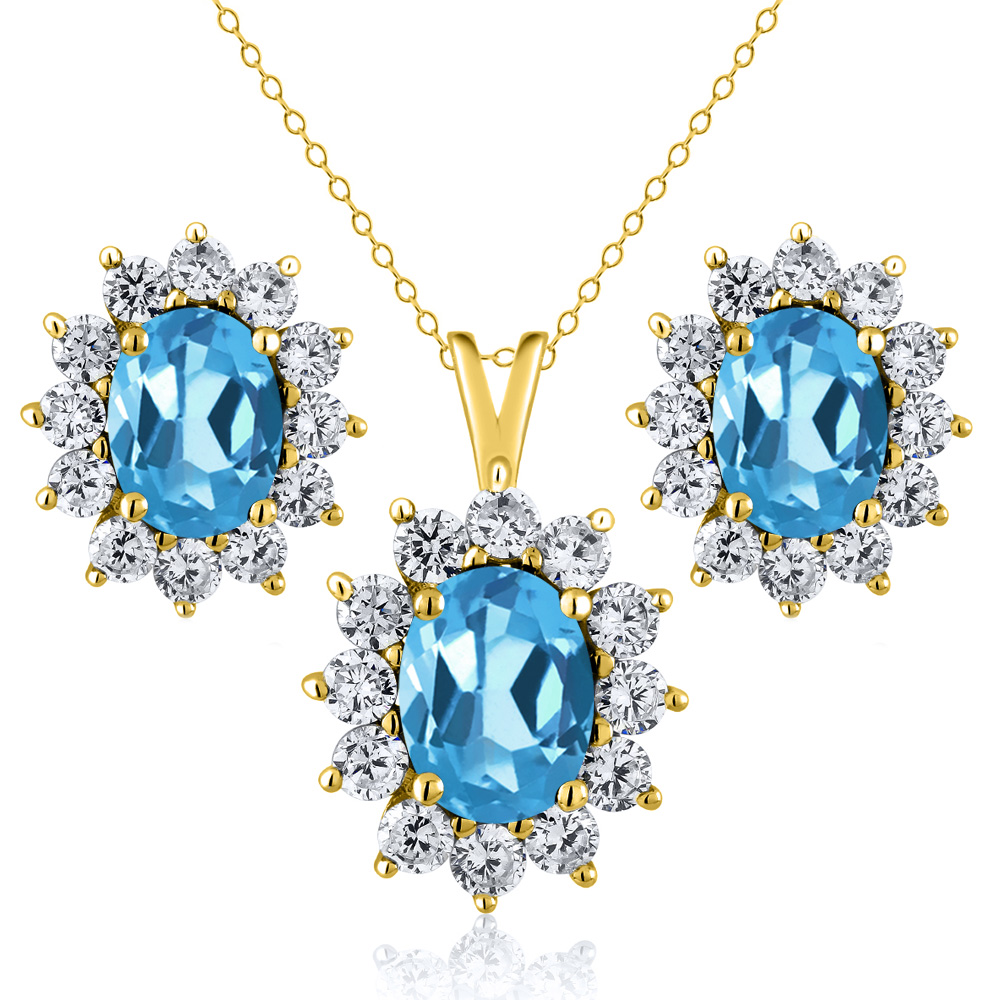 2.90 Ct Oval Swiss Blue Topaz 18K Yellow Gold Plated Silver Pendant Earrings Set by