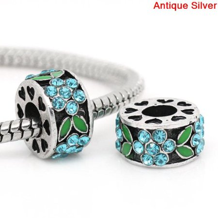 Antique Silver Finish Blue And Green Rhinestone Flower Spacer Charm Bead. Compatible With Most Pandora Style Charm Bracelets.