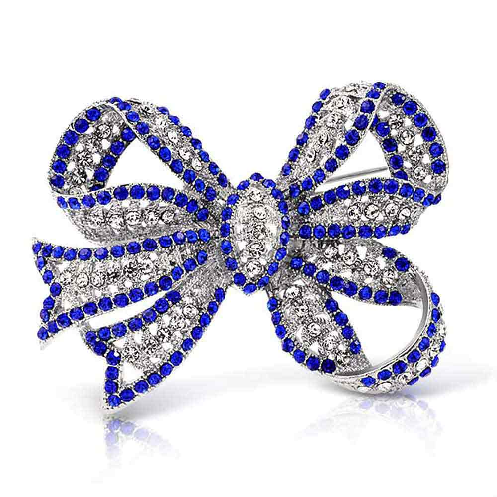 Simulated Sapphire Crystal Brooch Bow Christmas Pin Rhodium Plated by Bling Jewelry
