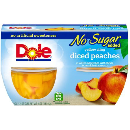 (12 Cups) Dole Fruit Bowls No Sugar Added Yellow Cling Diced Peaches, 4 oz cups