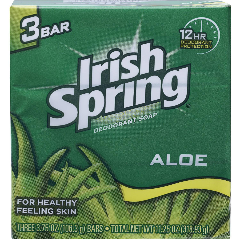 Irish Spring Aloe Deodorant Bar Soap, 4 oz, 3 ct