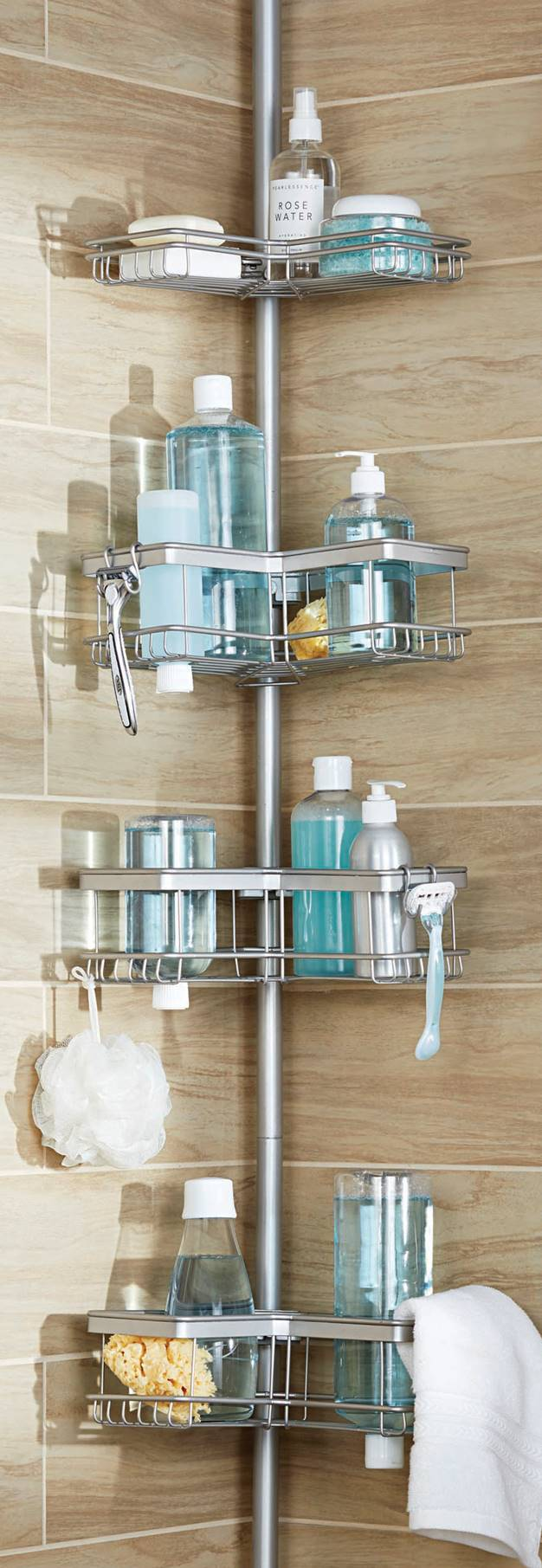 Click here to buy Better Homes & Gardens Contoured Tension Pole Shower Caddy, Satin Nickel by Supplier Generic.