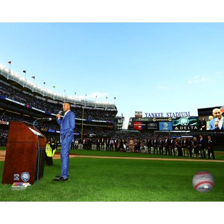 - Derek Jeter addresses the crowd during the retirement ceremony of his number 2 jersey at Yankee Stadium on May 14 2017 Photo Print