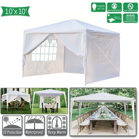 Pabby Yard 10' x 10' Tents and Canopies Outdoor Tents and Canopy, White 4 Sides Portable Waterproof Tent with Spiral Tubes Canopy Tents for Outside Party Waterproof Canopy Wedding Tent BBQ Shelter