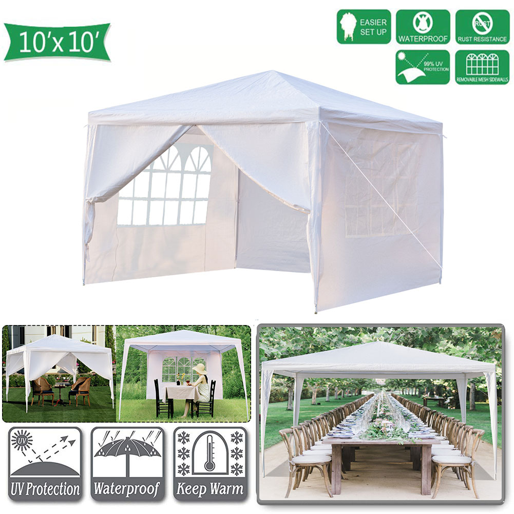 Hommoo 10' x 10' Canopy Tents for Outside, Easy Pop up Canopy Tent for Camping with 4 Removable Sidewalls, Waterproof Folding Canopy Wedding Tent for Party Beach Commercial Event Gazebo Pavilion BBQ