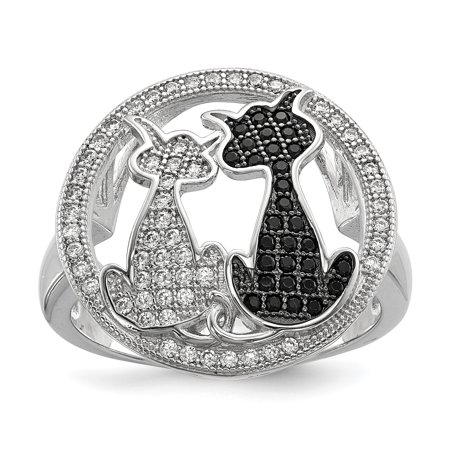 925 Sterling Silver Cubic Zirconia Cz Cat Band Ring Size 7.00 Animal Gifts For Women For