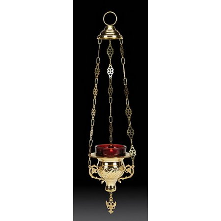 Hanging Votive Holder with Ruby Glass, Brass Brass Alabaster White Glass
