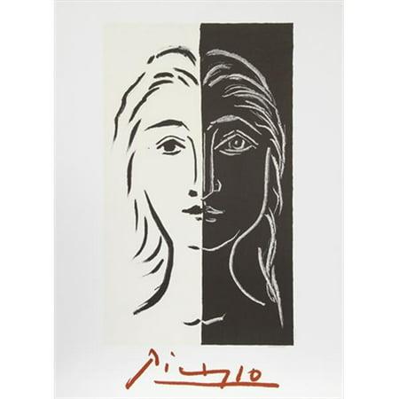 Pablo Picasso 2090 Portrait En Deux Parties Noire Et Blanche  44  Lithograph On Paper 29 In  X 22 In    Black  44  White  44  Red