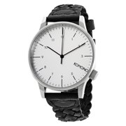 Winston Silver Dial Woven Black Leather Mens Watch W2032