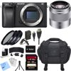 Sony ILCE-6300 a6300 4K Mirrorless Camera Body w/ 50mm Telephoto Lens Bundle includes Camera, 50mm Lens, 49mm Filter Kit, 32GB SDHC Memory Card, Battery, Charger, Bag, Beach Camera Cloth and More