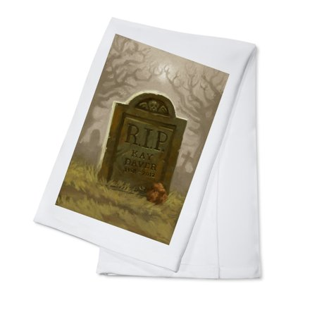 Headstone - Halloween Oil Painting - Lantern Press Artwork (100% Cotton Kitchen Towel) - Halloween Headstones Epitaphs